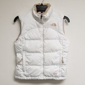 The North Face White Zip Up Quilted Vest Size S